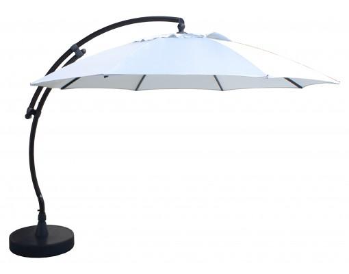 Sun Garden - Easy Sun zweefparasol XL375 Rond zonder flappen - Olefin Licht Grijs doek