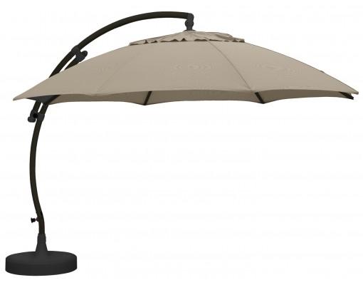 Sun Garden - Easy Sun zweefparasol XL375 Rond zonder flappen - Olefin Licht taupe doek