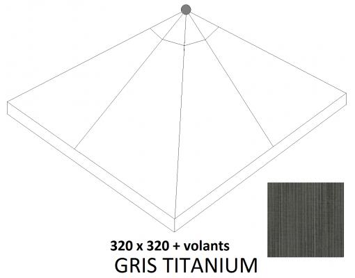 Toile de remplacement Titanium en Olefin pour parasol Easy Sun 320