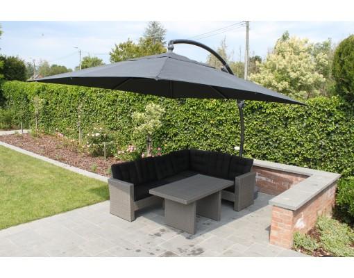 Sun Garden - Easy Sun zweefparasol 320 Vierkant zonder flappen - Olefin Chocolade doek